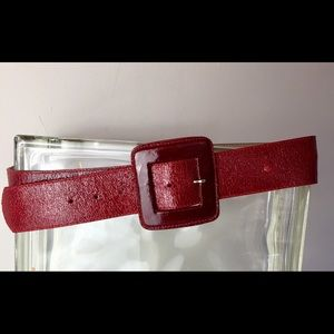 Cache Accessories - CACHE Vintage wide Red crinkled leather belt Large